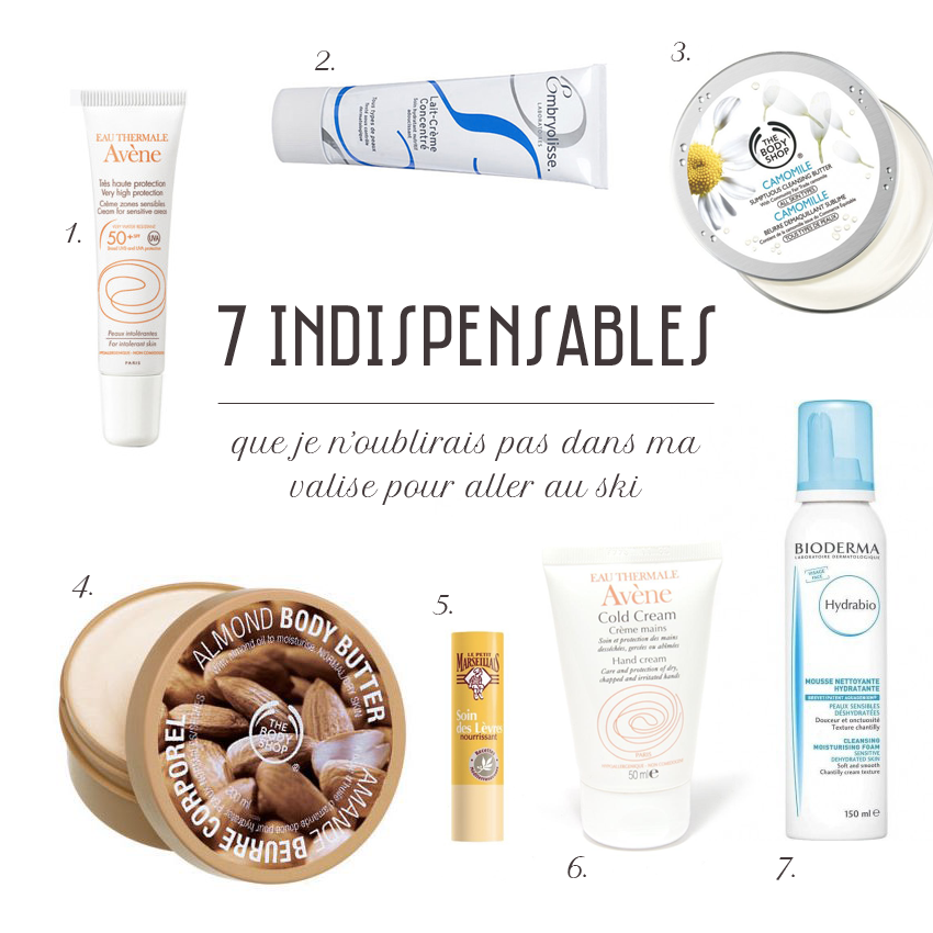 Produits soins indispensables froid ski