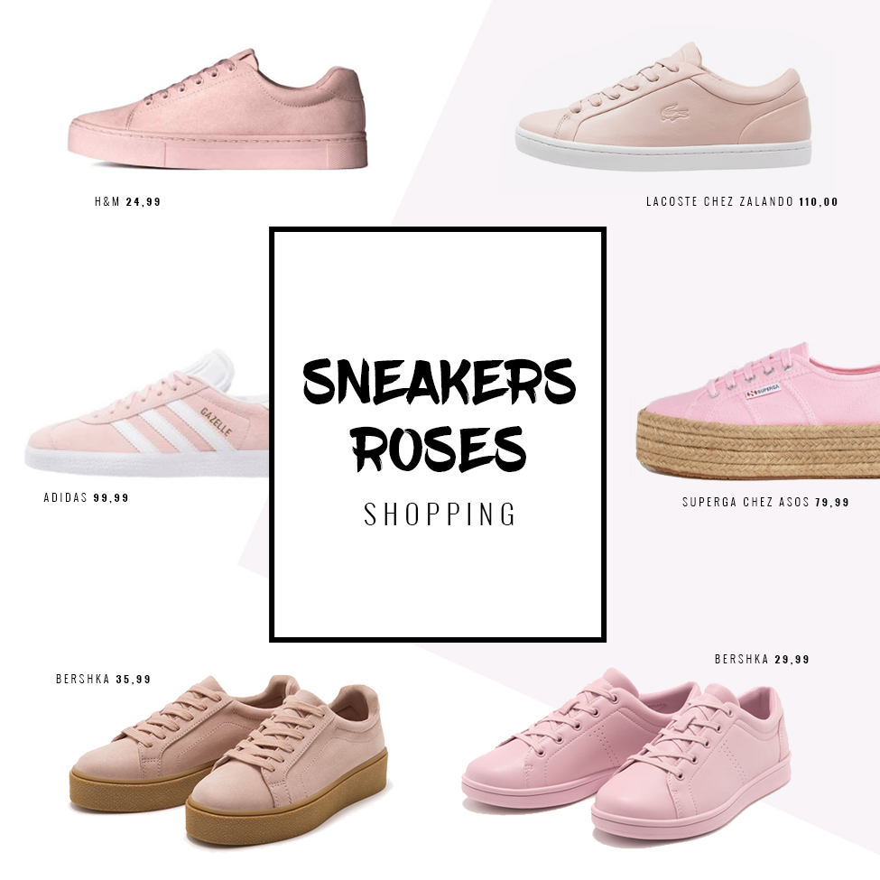 sneakers baskets tennis roses